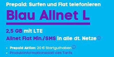 Blau Allnet Flat jetzt auch als Prepaid Tarif (ohne Laufzeit) erhältlich