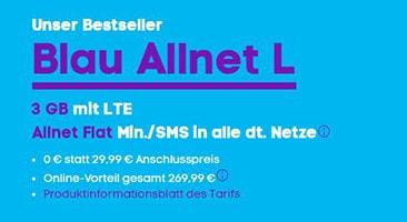Der Bestseller – Blau 3 GB mit LTE & Allnet Flat