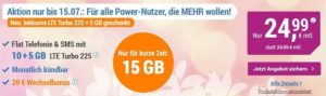 simply Aktion - Allnet Flat mit 15 GB für nur 24,99 €