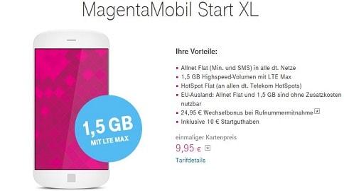 Telekom MagentaMobil Start XL Prepaid Allnet Flat