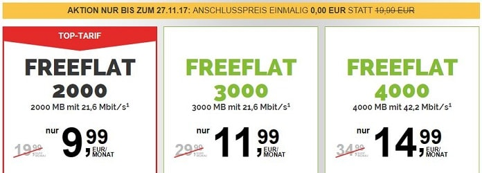Freenetmobile - Anschlusspreis einmalig 0,00 €