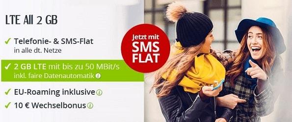 winSIM LTE All 2 GB: Allnet Flat ab sofort auch inkl. SMS-Flat