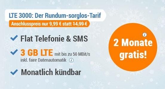 simply Aktion: LTE 3000 Allnet-Flat - 2 Monate für 0 €