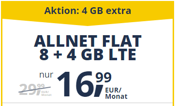 Photo of freenetmobile Allnet Flat: 8 + 4 GB LTE für 16,99 € (statt 29,99 €)