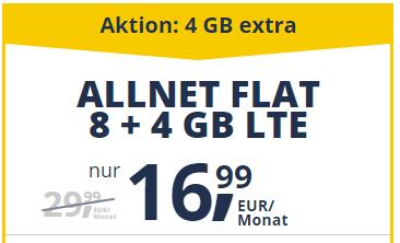freenetmobile Allnet Flat: 8 + 4 GB LTE für 16,99 € (statt 29,99 €)