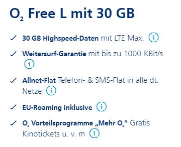 o2 Free L mit 30 GB