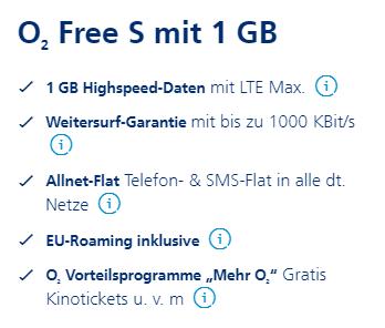 o2 Free S mit 1 GB