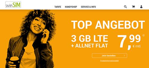 winsim Angebot: LTE All 3 GB GMX nur 7,99 €