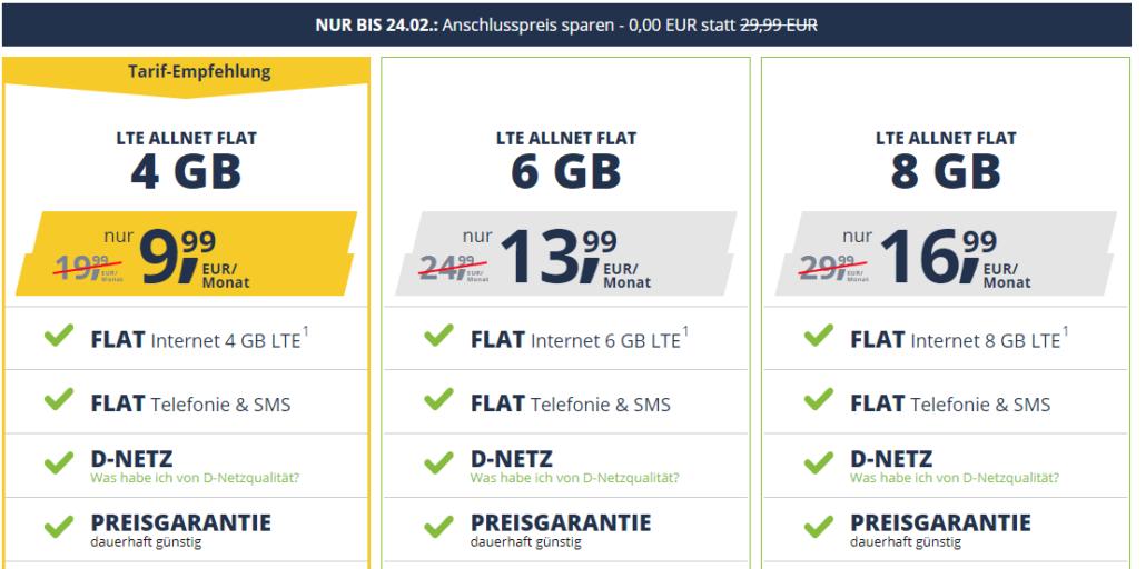 Freenet Mobile Aktion: NUR BIS 24.02.: Anschlusspreis sparen - 0,00 EUR statt 29,99 EUR