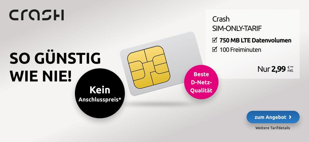 Crash Smartphone Flat: 750 MB + 100 Freiminuten für nur 2,99 € pro Monat