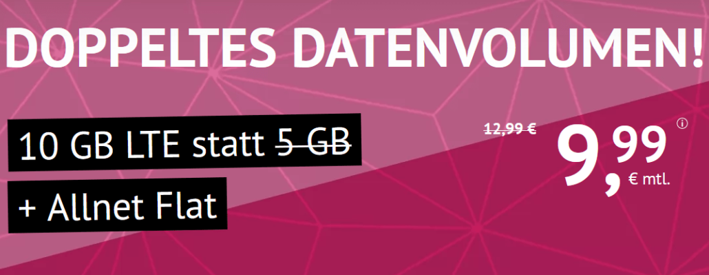 handyvertrag.de LTE All: Allnet-Flatrate (Min./SMS) + 10 GB LTE nur 9,99 €