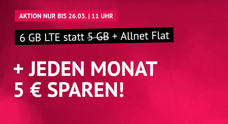 handyvertrag LTE All 5 GB: Allnet-Flat + 5 GB LTE für nur 5,99 € – nur heute