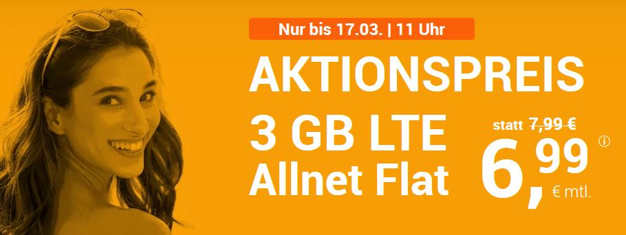 winSIM LTE All 3 GB: Allnet-Flat (Min./SMS) + 3 GB LTE für nur 6,99 €