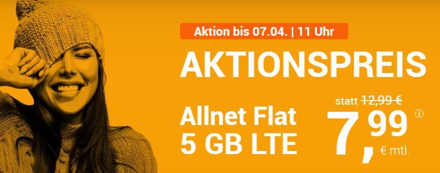 winSIM LTE All 5: Allnet Flat + 5 GB LTE Flat für nur 7,99 € - bis 07.4.