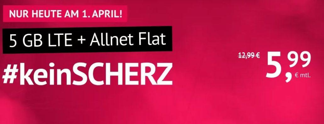 handyvertrag LTE All 5 GB: Allnet-Flat + 5 GB LTE für nur 5,99 €