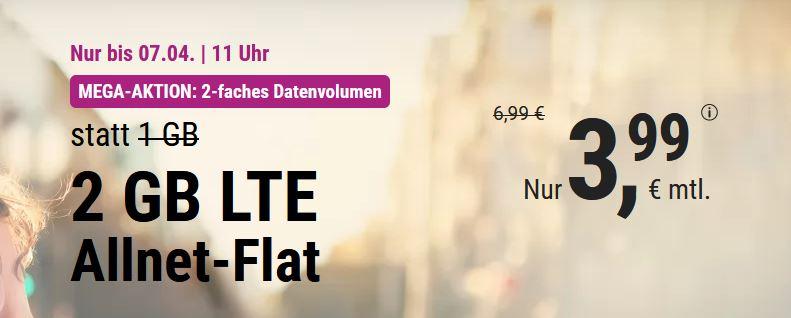 simplytel LTE 1000: Allnet Flat + 2 GB LTE nur 3,99 €