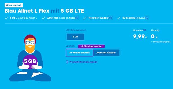 BLAU Allnet L Flex inkl. 5 GB Datenvolumen